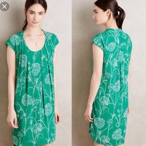 Anthropologie Maeve Au Revoir Dress Green Floral